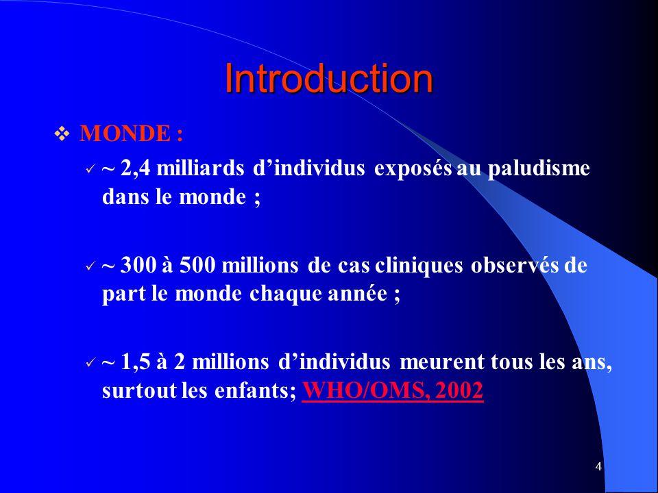 4 Introduction MONDE : ~ 2,4 milliards dindividus exposés au paludisme dans le monde ; ~ 300 à 500 millions de cas cliniques observés de part le monde chaque année ; ~ 1,5 à 2 millions dindividus meurent tous les ans, surtout les enfants; WHO/OMS, 2002WHO/OMS, 2002