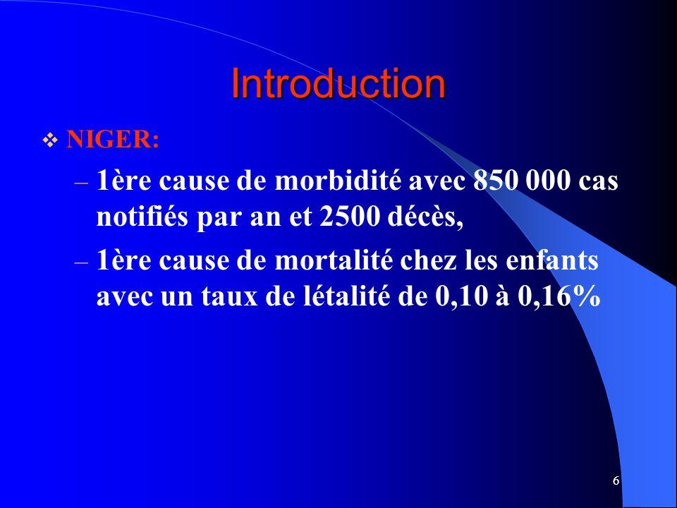 6 Introduction NIGER: – 1ère cause de morbidité avec 850 000 cas notifiés par an et 2500 décès, – 1ère cause de mortalité chez les enfants avec un taux de létalité de 0,10 à 0,16%