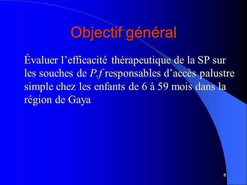 8 Objectif général Évaluer lefficacité thérapeutique de la SP sur les souches de P.f responsables daccès palustre simple chez les enfants de 6 à 59 mois dans la région de Gaya