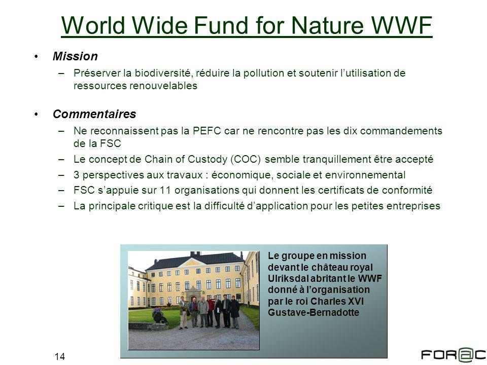 14 Mission –Préserver la biodiversité, réduire la pollution et soutenir lutilisation de ressources renouvelables Commentaires –Ne reconnaissent pas la