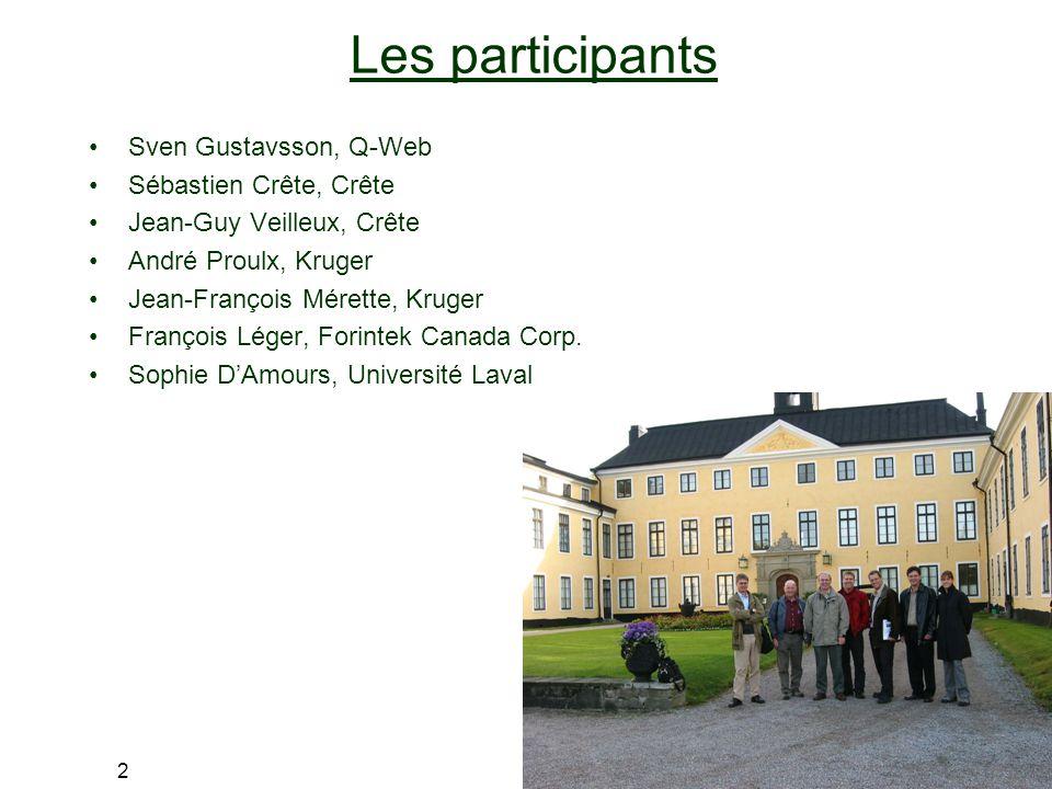 2 Les participants Sven Gustavsson, Q-Web Sébastien Crête, Crête Jean-Guy Veilleux, Crête André Proulx, Kruger Jean-François Mérette, Kruger François