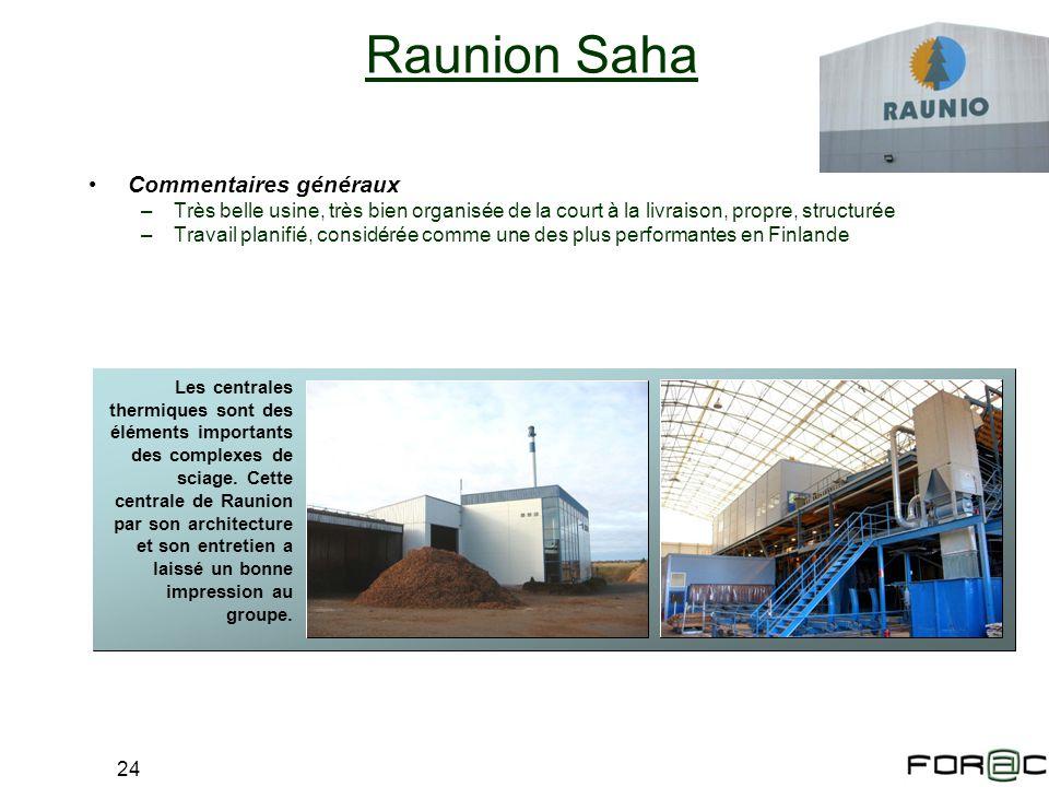 24 Raunion Saha Commentaires généraux –Très belle usine, très bien organisée de la court à la livraison, propre, structurée –Travail planifié, considé
