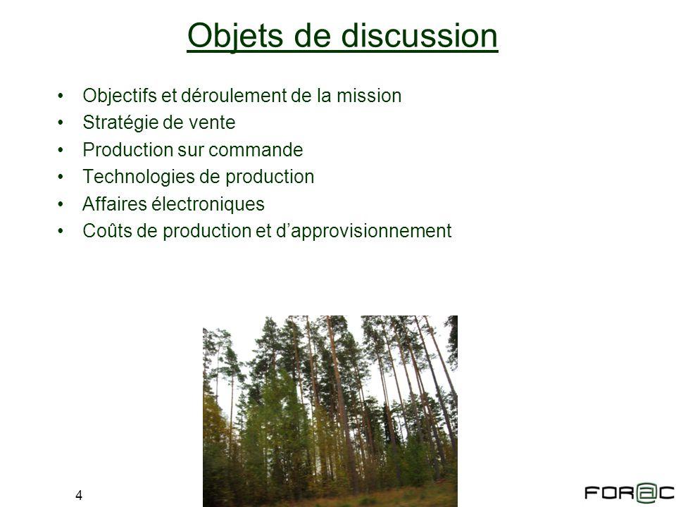 4 Objets de discussion Objectifs et déroulement de la mission Stratégie de vente Production sur commande Technologies de production Affaires électroni