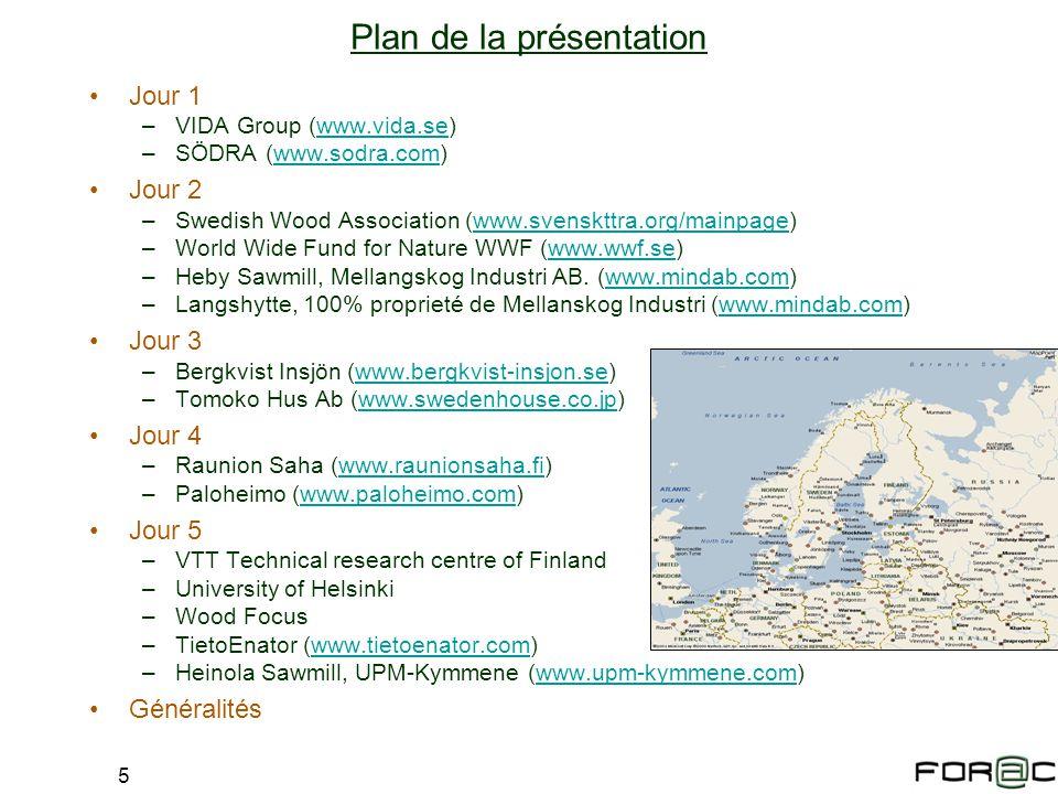 5 Jour 1 –VIDA Group (www.vida.se)www.vida.se –SÖDRA (www.sodra.com)www.sodra.com Jour 2 –Swedish Wood Association (www.svenskttra.org/mainpage)www.sv