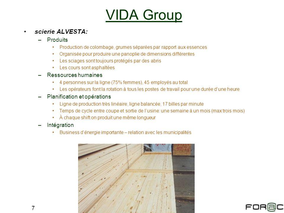 7 scierie ALVESTA: –Produits Production de colombage, grumes séparées par rapport aux essences Organisée pour produire une panoplie de dimensions diff