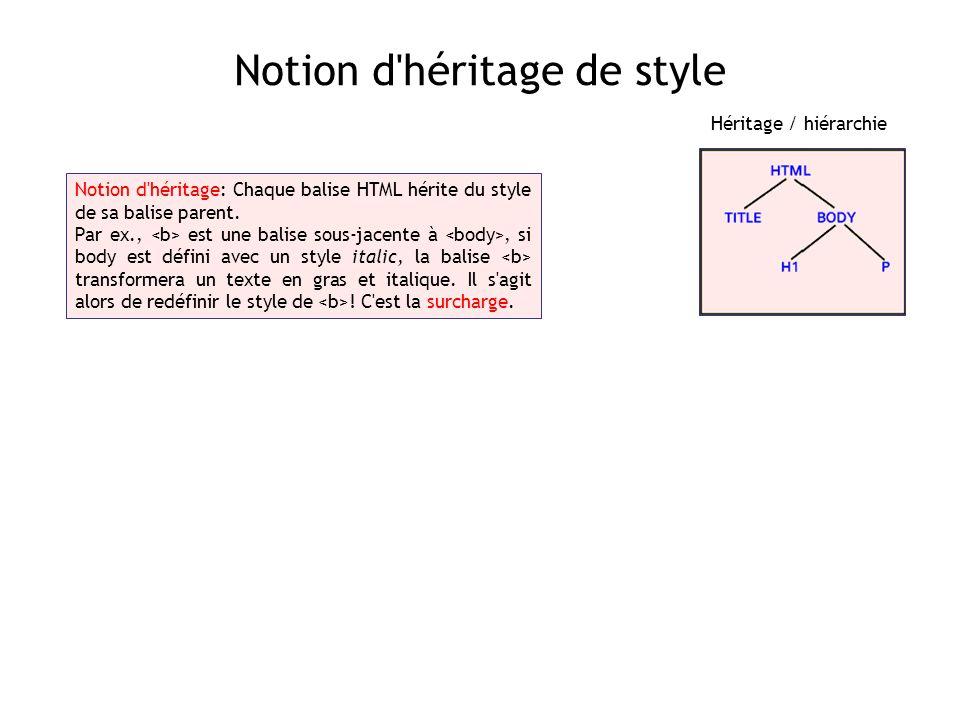 Notion d'héritage de style Notion d'héritage: Chaque balise HTML hérite du style de sa balise parent. Par ex., est une balise sous-jacente à, si body
