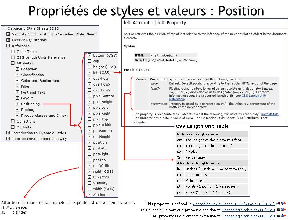 Propriétés de styles et valeurs : Position Attention : écriture de la propriété, lorsqu'elle est utilisée en Javascript, HTML : z-index JS : zIndex