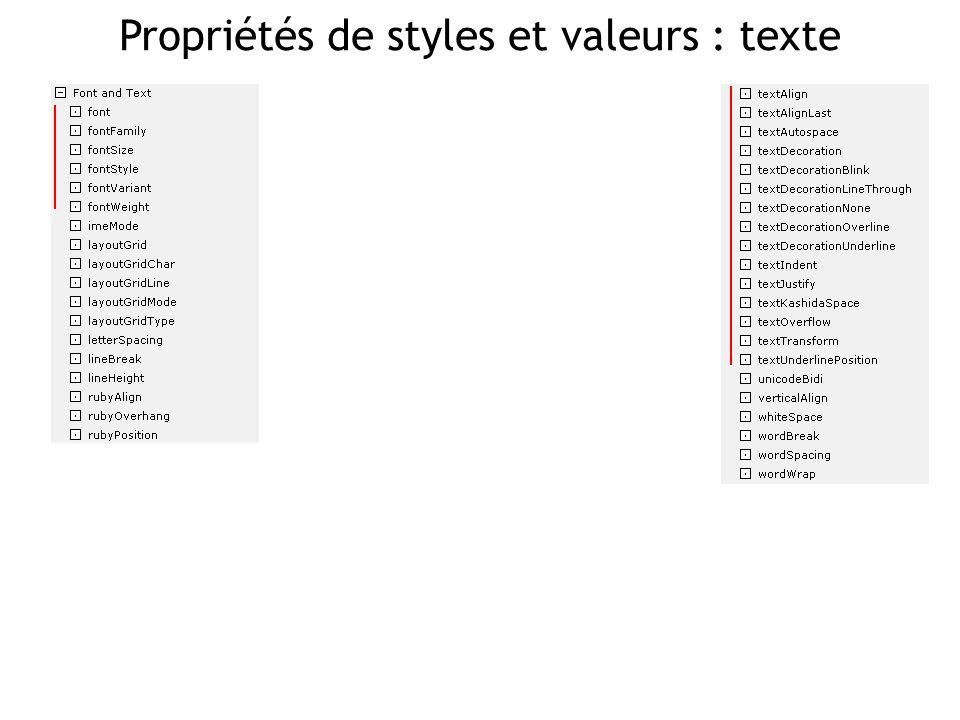 Propriétés de styles et valeurs : texte