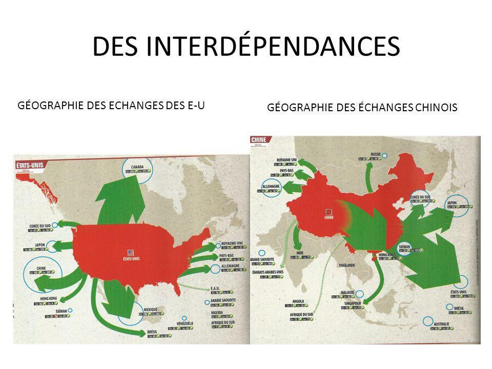 DES INTERDÉPENDANCES GÉOGRAPHIE DES ECHANGES DES E-U GÉOGRAPHIE DES ÉCHANGES CHINOIS