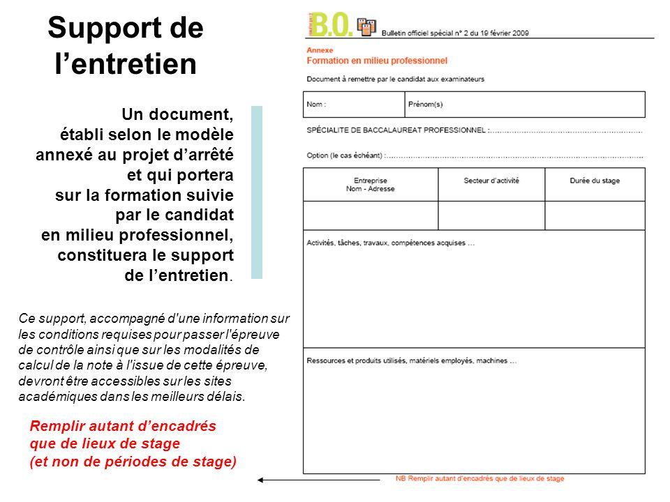 Un document, établi selon le modèle annexé au projet darrêté et qui portera sur la formation suivie par le candidat en milieu professionnel, constituera le support de lentretien.