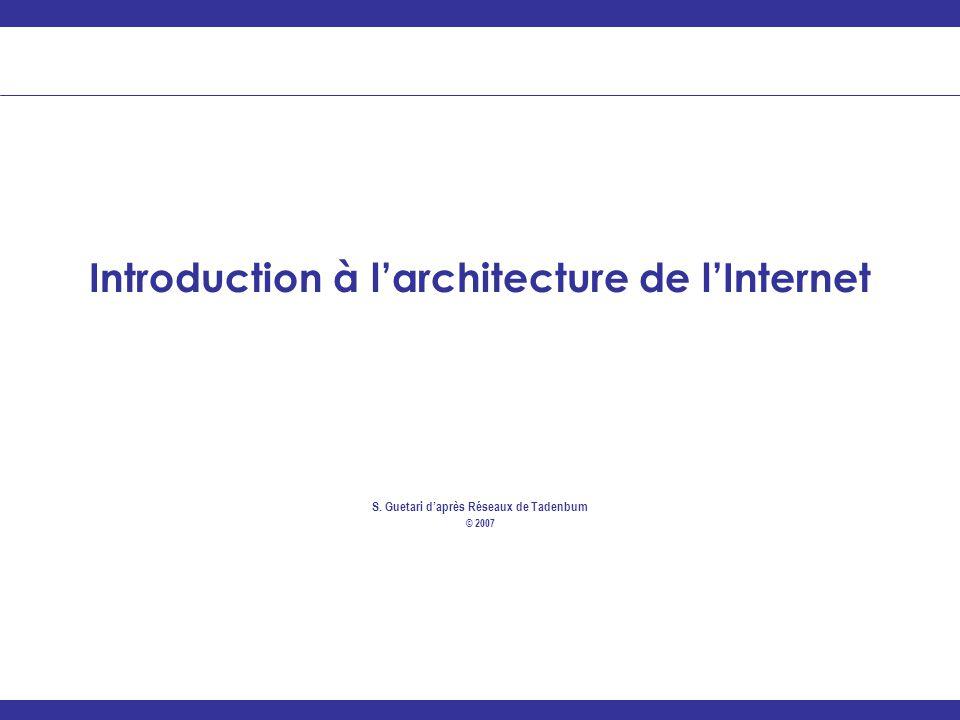 ________________________________________________________________ Introduction à larchitecture de lInternet S. Guetari daprès Réseaux de Tadenbum © 200