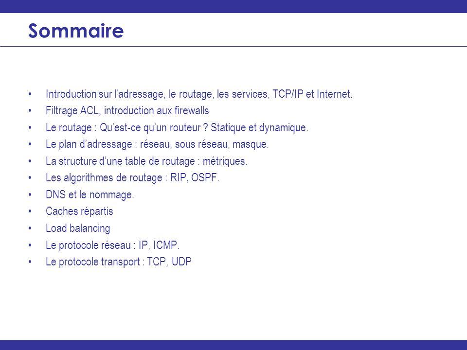 ________________________________________________________________ Sommaire Introduction sur ladressage, le routage, les services, TCP/IP et Internet. F