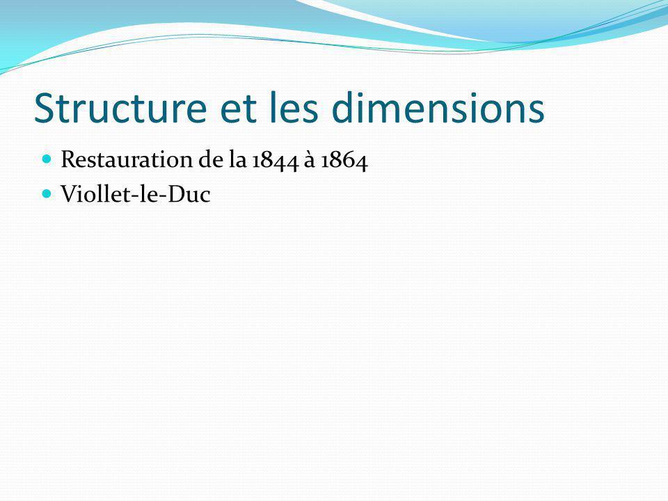 Structure et les dimensions Restauration de la 1844 à 1864 Viollet-le-Duc