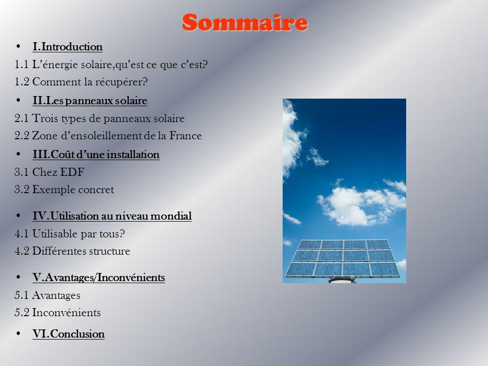 I.Introduction 1.1 Lénergie solaire L énergie solaire est lénergie que dispense le soleil par son rayonnement, directement ou de manière diffuse à travers latmosphère.