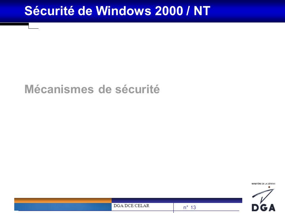 DGA/DCE/CELAR n° 13 Sécurité de Windows 2000 / NT Mécanismes de sécurité