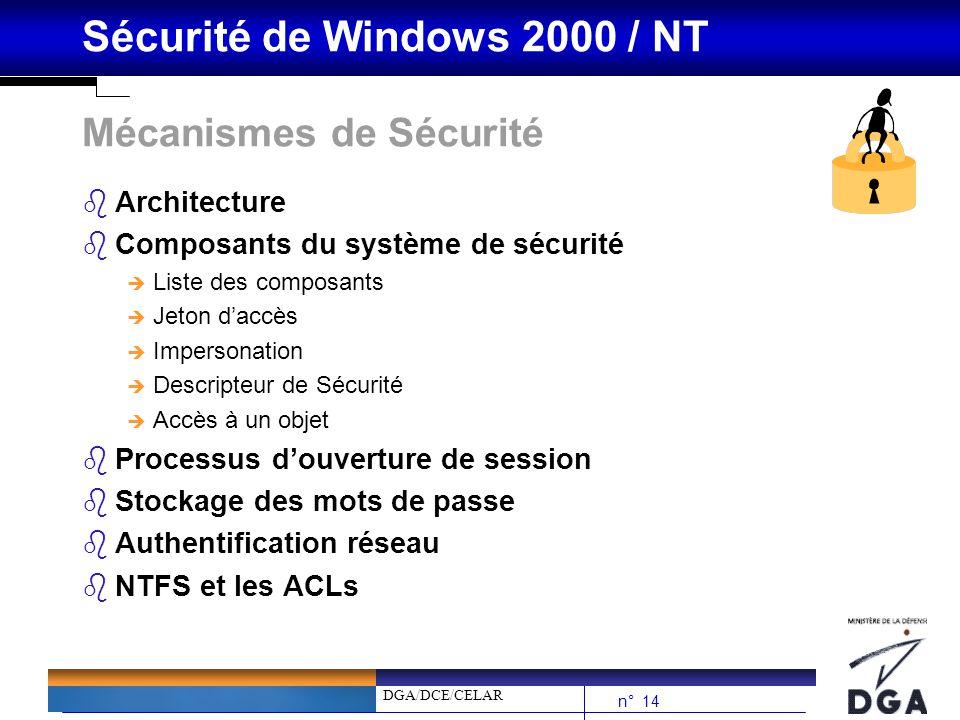 DGA/DCE/CELAR n° 14 Sécurité de Windows 2000 / NT Mécanismes de Sécurité bArchitecture bComposants du système de sécurité è Liste des composants è Jet