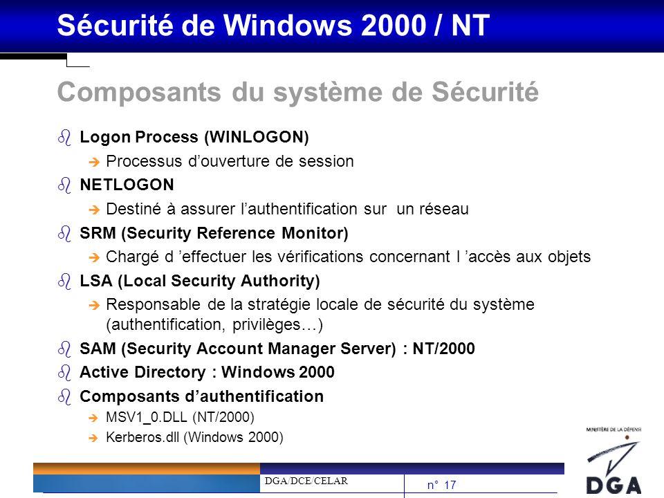 DGA/DCE/CELAR n° 17 Sécurité de Windows 2000 / NT Composants du système de Sécurité bLogon Process (WINLOGON) è Processus douverture de session bNETLO