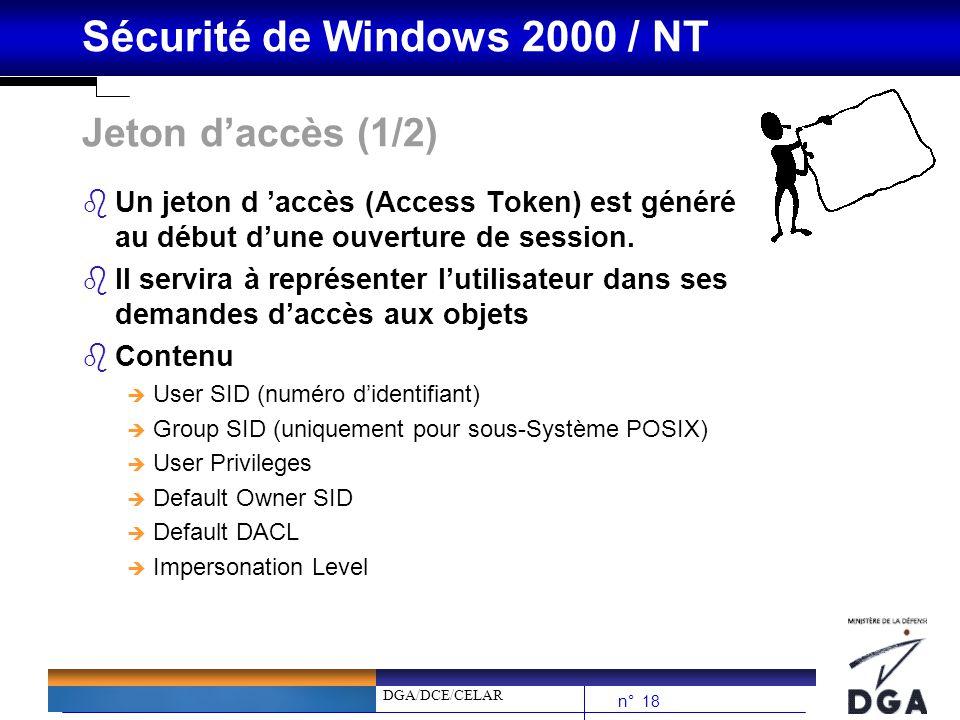 DGA/DCE/CELAR n° 18 Sécurité de Windows 2000 / NT Jeton daccès (1/2) bUn jeton d accès (Access Token) est généré au début dune ouverture de session. b
