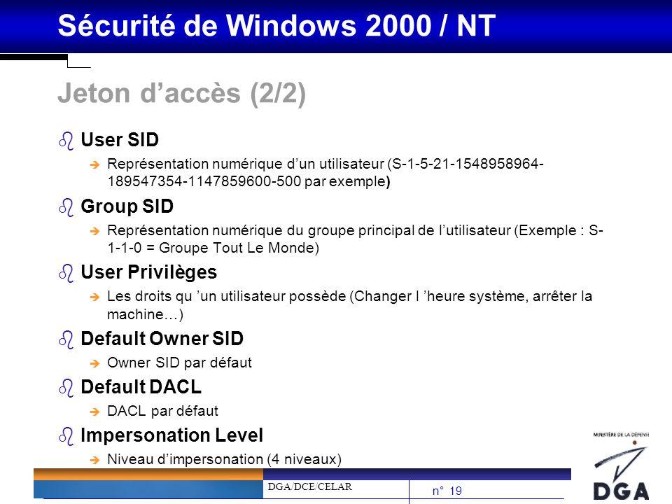 DGA/DCE/CELAR n° 19 Sécurité de Windows 2000 / NT Jeton daccès (2/2) bUser SID è Représentation numérique dun utilisateur (S-1-5-21-1548958964- 189547