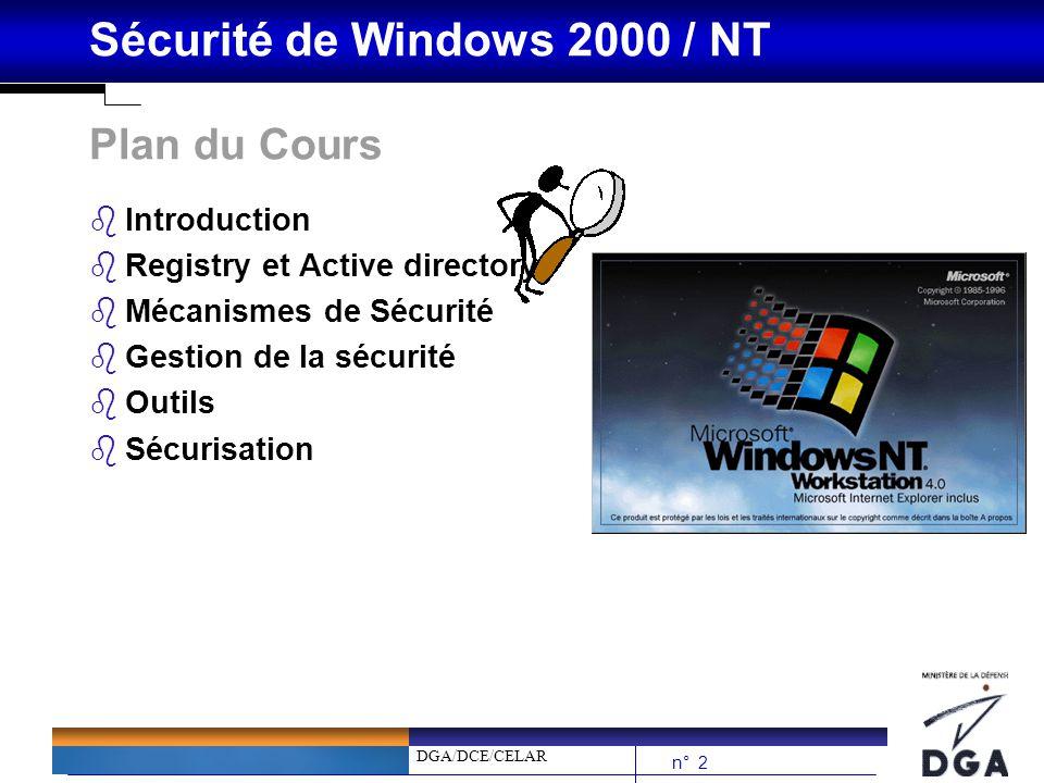 DGA/DCE/CELAR n° 23 Sécurité de Windows 2000 / NT Processus douverture de session (1/3) bLe but de l ouverture de session est de fournir à l utilisateur un jeton d accès qui contiendra les droits et les SID locaux et globaux relatifs à cet utilisateur.