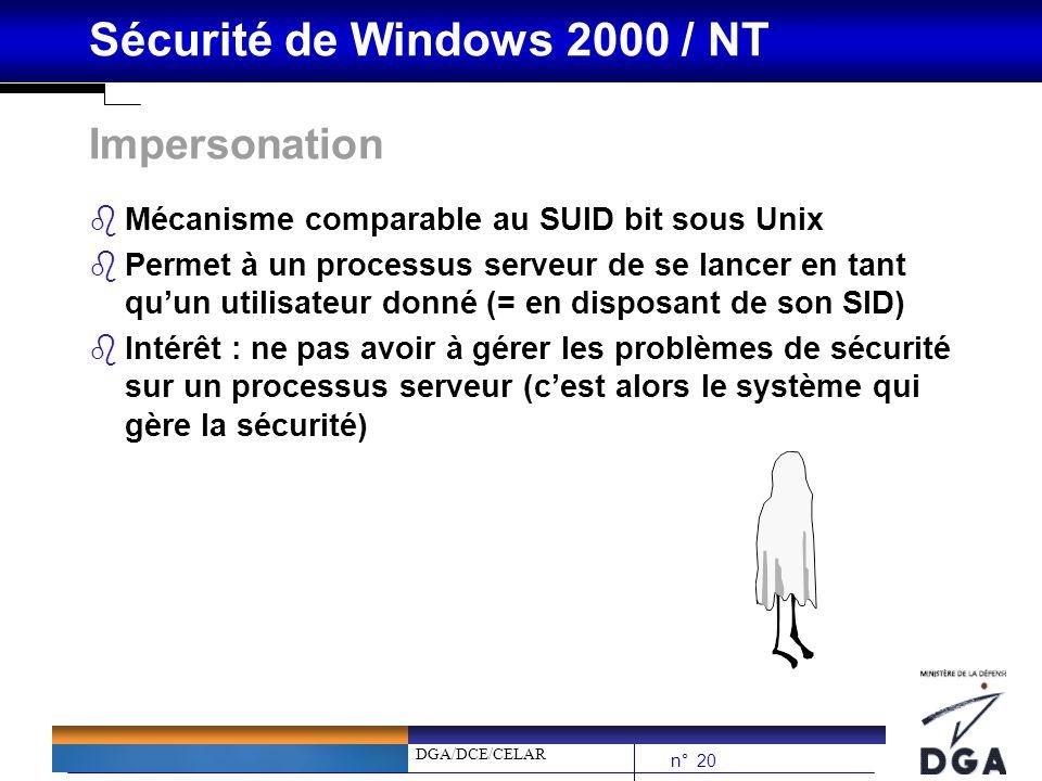 DGA/DCE/CELAR n° 20 Sécurité de Windows 2000 / NT Impersonation bMécanisme comparable au SUID bit sous Unix bPermet à un processus serveur de se lance