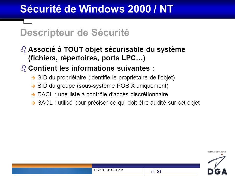 DGA/DCE/CELAR n° 21 Sécurité de Windows 2000 / NT Descripteur de Sécurité bAssocié à TOUT objet sécurisable du système (fichiers, répertoires, ports L