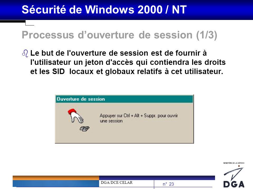 DGA/DCE/CELAR n° 23 Sécurité de Windows 2000 / NT Processus douverture de session (1/3) bLe but de l'ouverture de session est de fournir à l'utilisate