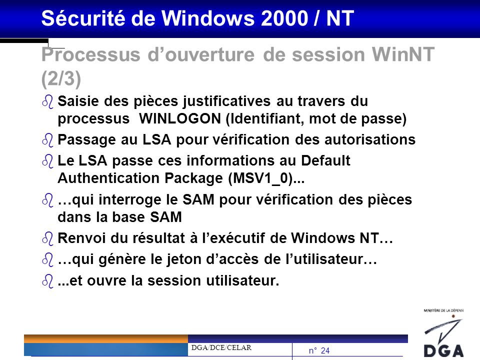 DGA/DCE/CELAR n° 24 Sécurité de Windows 2000 / NT Processus douverture de session WinNT (2/3) bSaisie des pièces justificatives au travers du processus WINLOGON (Identifiant, mot de passe) bPassage au LSA pour vérification des autorisations bLe LSA passe ces informations au Default Authentication Package (MSV1_0)...