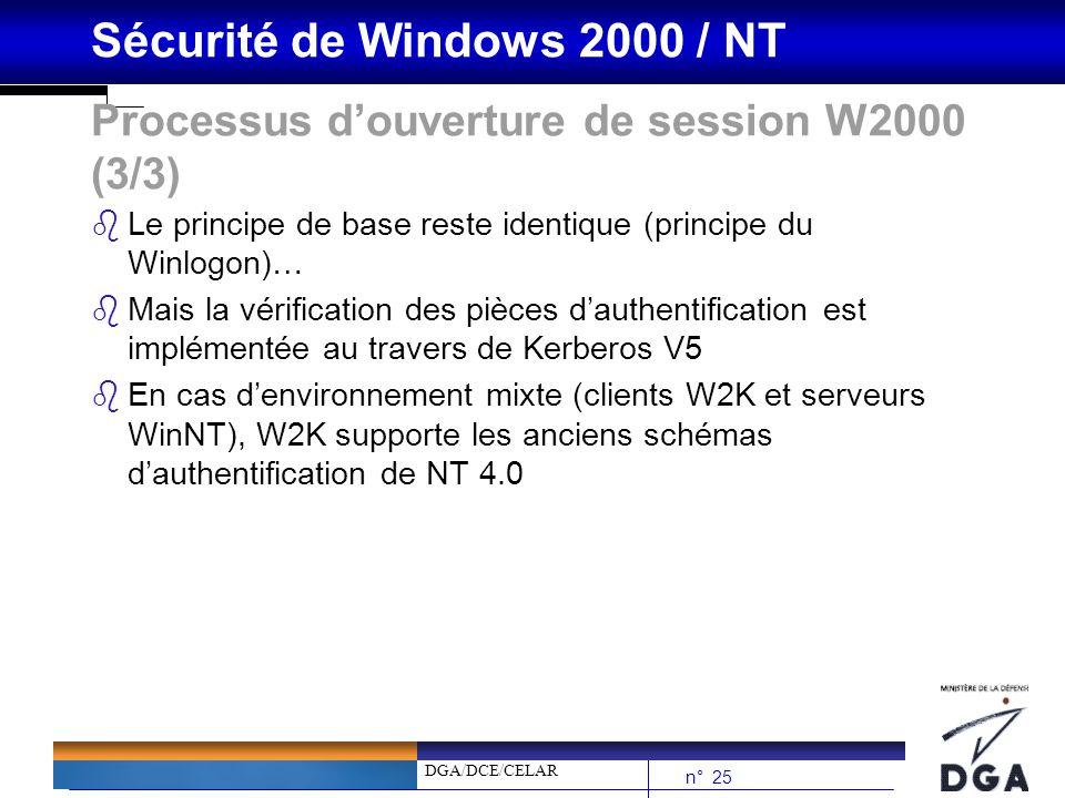 DGA/DCE/CELAR n° 25 Sécurité de Windows 2000 / NT Processus douverture de session W2000 (3/3) bLe principe de base reste identique (principe du Winlog