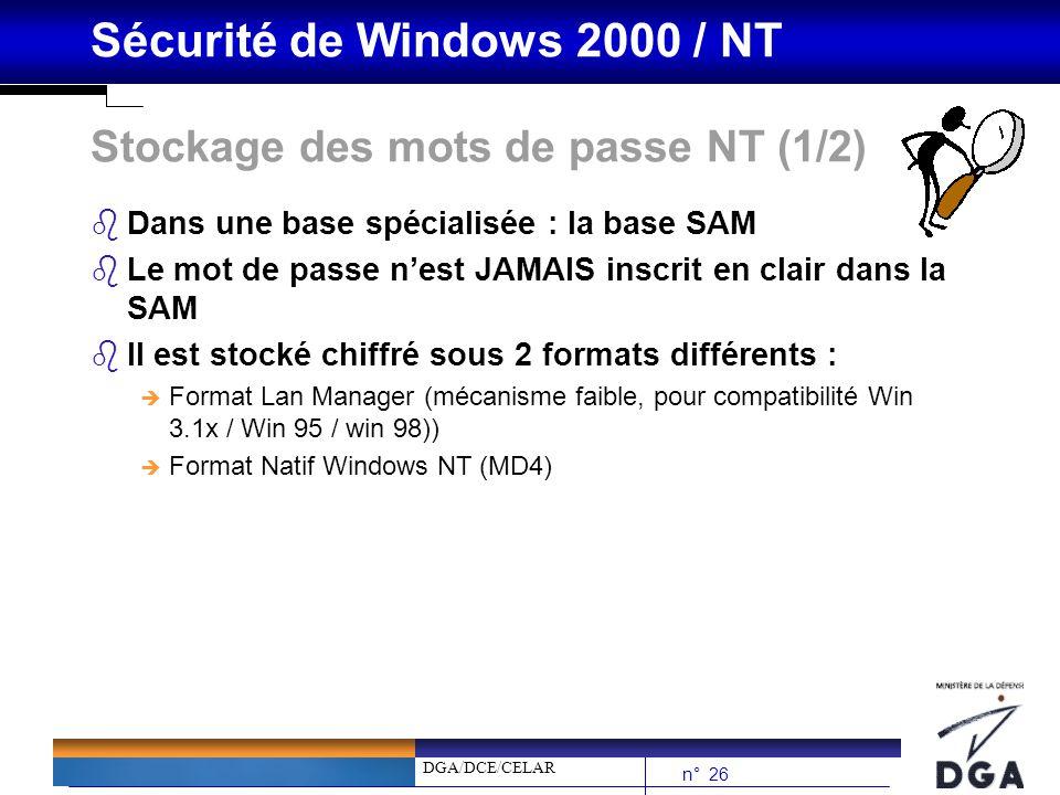 DGA/DCE/CELAR n° 26 Sécurité de Windows 2000 / NT Stockage des mots de passe NT (1/2) bDans une base spécialisée : la base SAM bLe mot de passe nest J