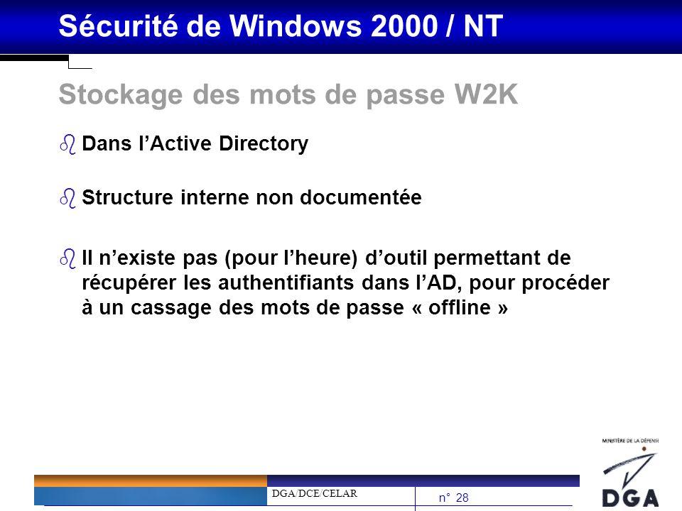 DGA/DCE/CELAR n° 28 Sécurité de Windows 2000 / NT Stockage des mots de passe W2K bDans lActive Directory bStructure interne non documentée bIl nexiste