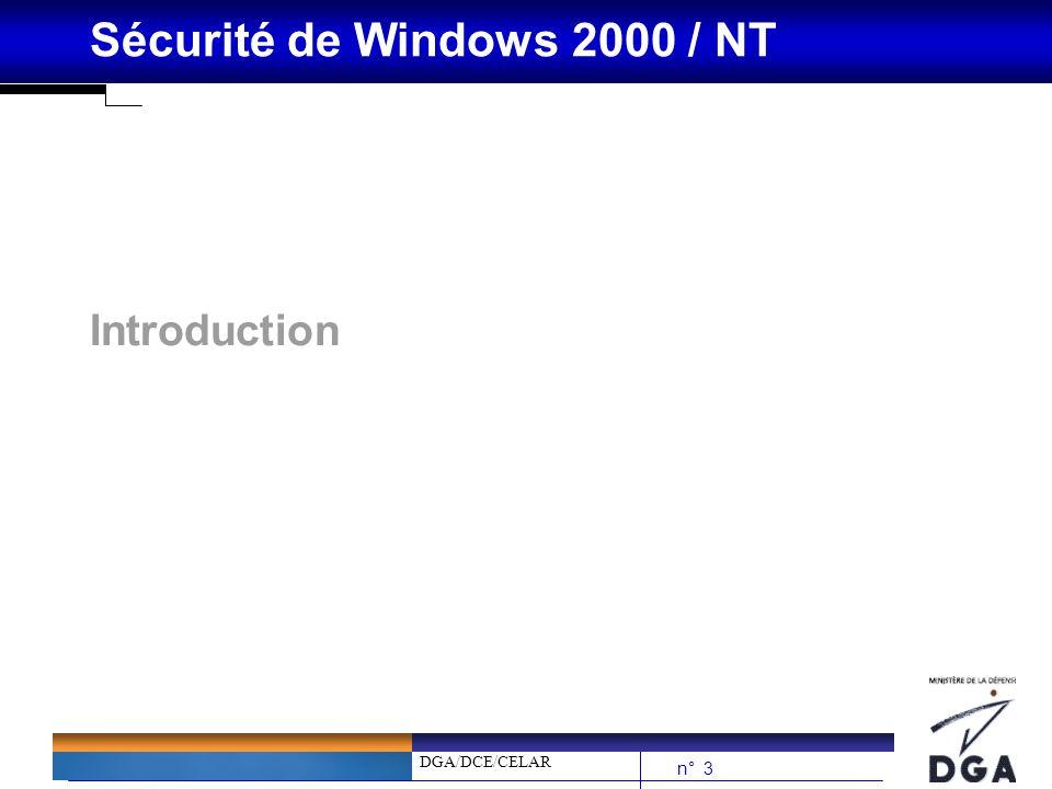 DGA/DCE/CELAR n° 24 Sécurité de Windows 2000 / NT Processus douverture de session WinNT (2/3) bSaisie des pièces justificatives au travers du processus WINLOGON (Identifiant, mot de passe) bPassage au LSA pour vérification des autorisations bLe LSA passe ces informations au Default Authentication Package (MSV1_0)...