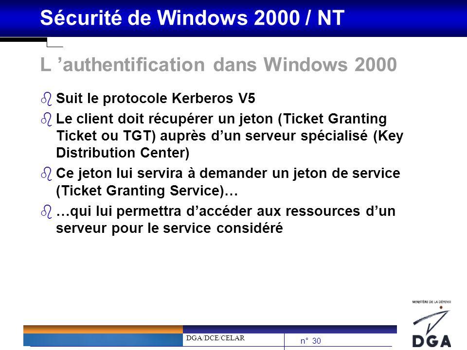 DGA/DCE/CELAR n° 30 Sécurité de Windows 2000 / NT L authentification dans Windows 2000 bSuit le protocole Kerberos V5 bLe client doit récupérer un jet