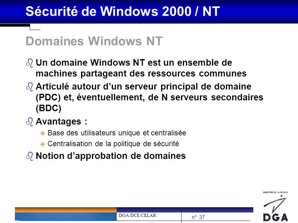 DGA/DCE/CELAR n° 37 Sécurité de Windows 2000 / NT Domaines Windows NT bUn domaine Windows NT est un ensemble de machines partageant des ressources com