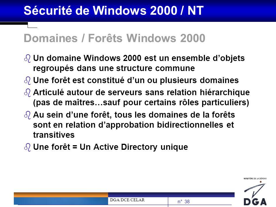 DGA/DCE/CELAR n° 38 Sécurité de Windows 2000 / NT Domaines / Forêts Windows 2000 bUn domaine Windows 2000 est un ensemble dobjets regroupés dans une s