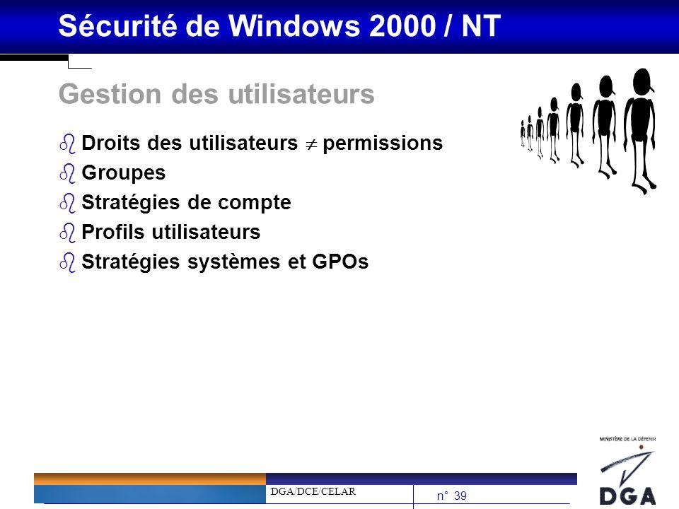DGA/DCE/CELAR n° 39 Sécurité de Windows 2000 / NT Gestion des utilisateurs bDroits des utilisateurs permissions bGroupes bStratégies de compte bProfil