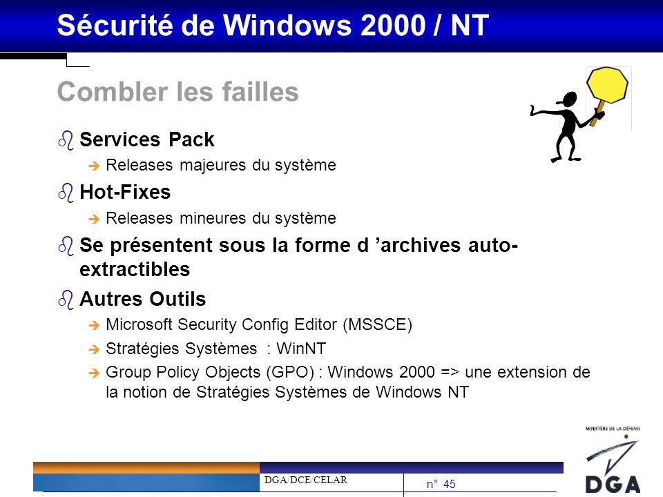 DGA/DCE/CELAR n° 45 Sécurité de Windows 2000 / NT Combler les failles bServices Pack è Releases majeures du système bHot-Fixes è Releases mineures du