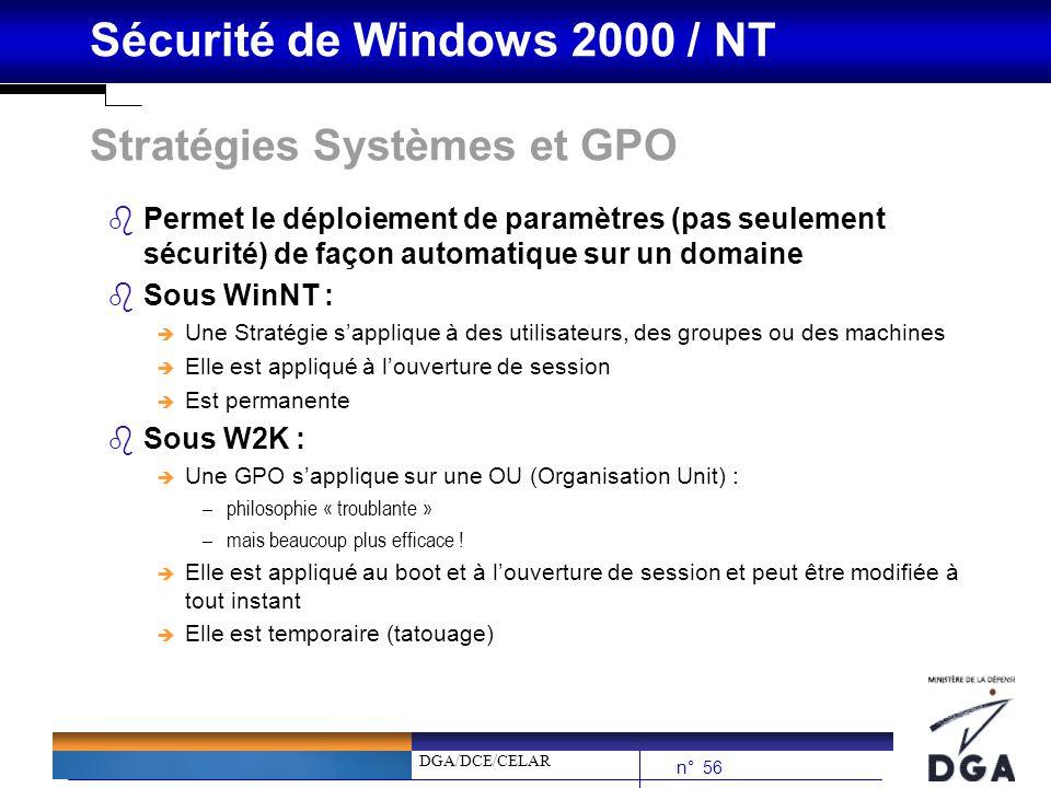 DGA/DCE/CELAR n° 56 Sécurité de Windows 2000 / NT Stratégies Systèmes et GPO bPermet le déploiement de paramètres (pas seulement sécurité) de façon au