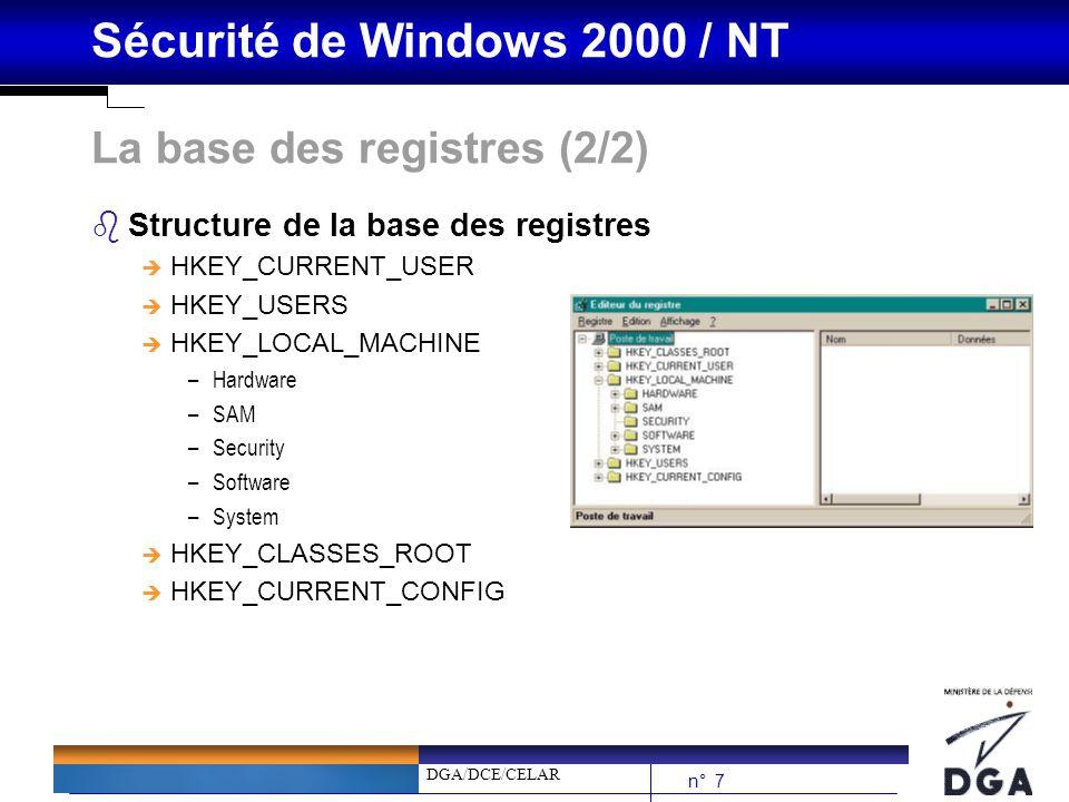 DGA/DCE/CELAR n° 38 Sécurité de Windows 2000 / NT Domaines / Forêts Windows 2000 bUn domaine Windows 2000 est un ensemble dobjets regroupés dans une structure commune bUne forêt est constitué dun ou plusieurs domaines bArticulé autour de serveurs sans relation hiérarchique (pas de maîtres…sauf pour certains rôles particuliers) bAu sein dune forêt, tous les domaines de la forêts sont en relation dapprobation bidirectionnelles et transitives bUne forêt = Un Active Directory unique