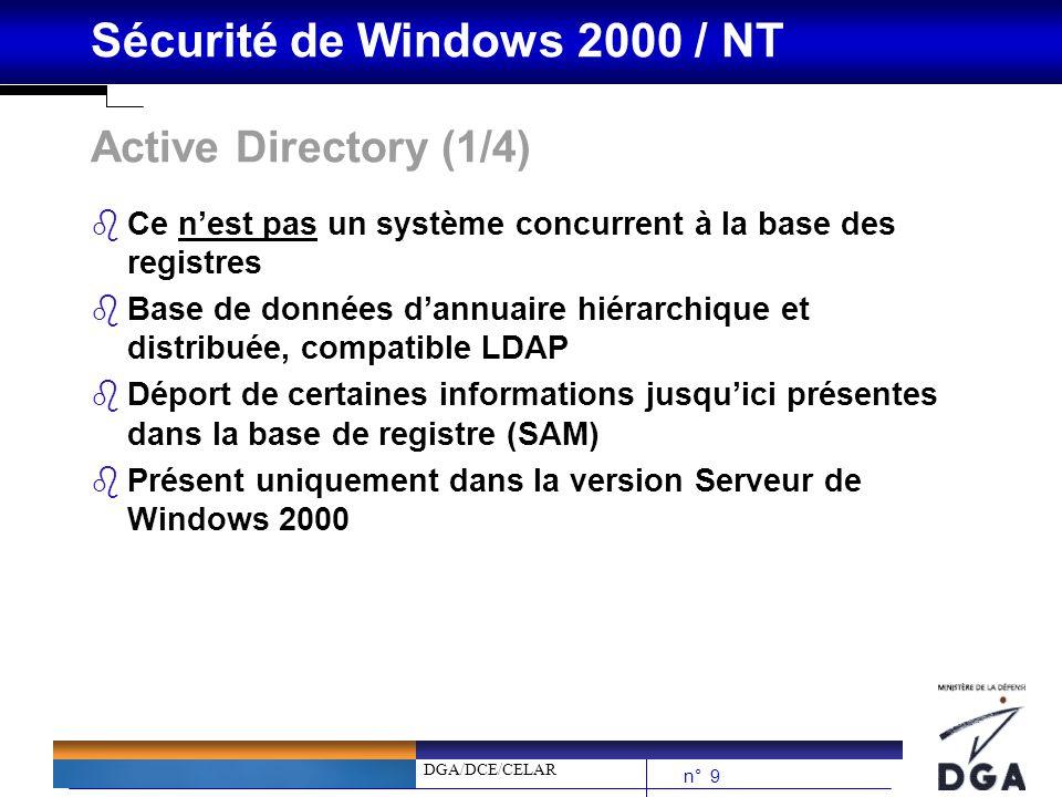 DGA/DCE/CELAR n° 10 Sécurité de Windows 2000 / NT Active Directory (2/4) bPrincipes de lActive Directory : è Permet de centraliser la gestion des « forêts » W2K è Assurer lauthentification des usagers è ACLs sur les objets définis dans lAD è Stockage des données de gestion dune forêt (utilisateurs, groupes, stratégies de sécurité, profils, certificats…)