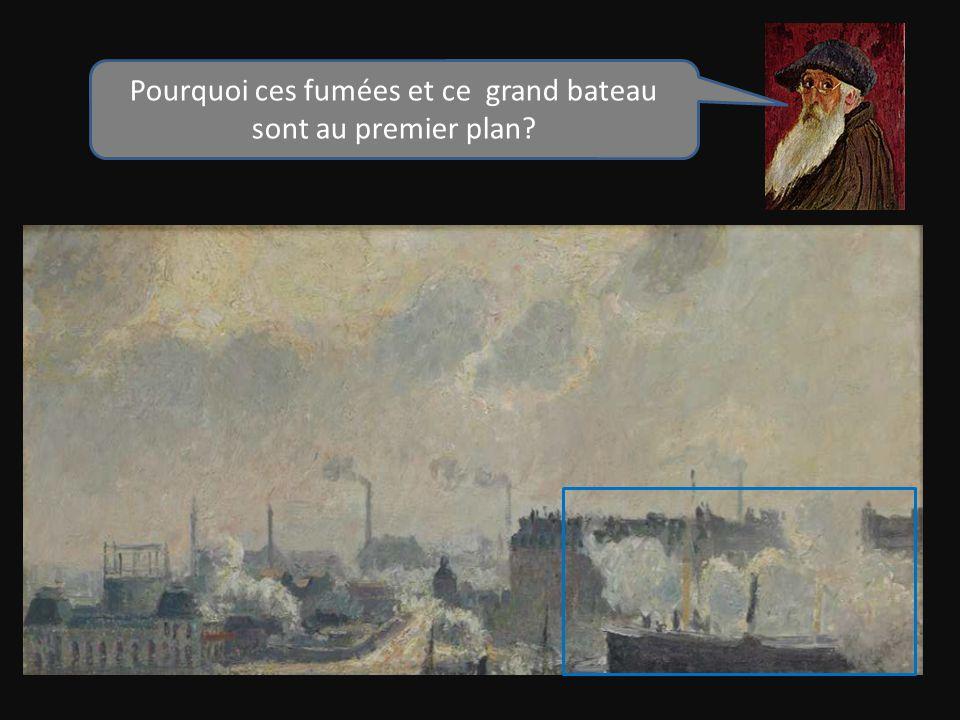 Ce grand bateau devant la grue est un cargo, il annonce la présence de leau et de la zone portuaire : la Seine et le port de Rouen.