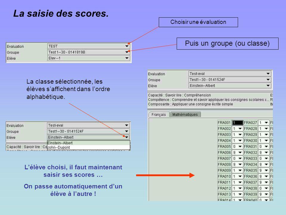 La saisie des scores. Choisir une évaluation Puis un groupe (ou classe) La classe sélectionnée, les élèves saffichent dans lordre alphabétique. Lélève