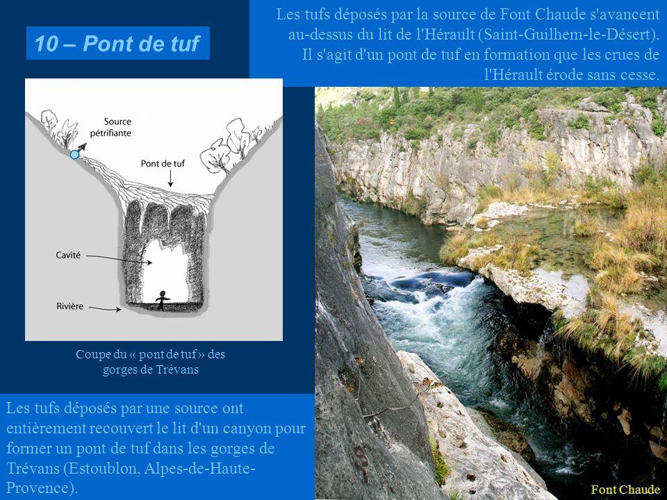 Les tufs déposés par une source ont entièrement recouvert le lit d'un canyon pour former un pont de tuf dans les gorges de Trévans (Estoublon, Alpes-d