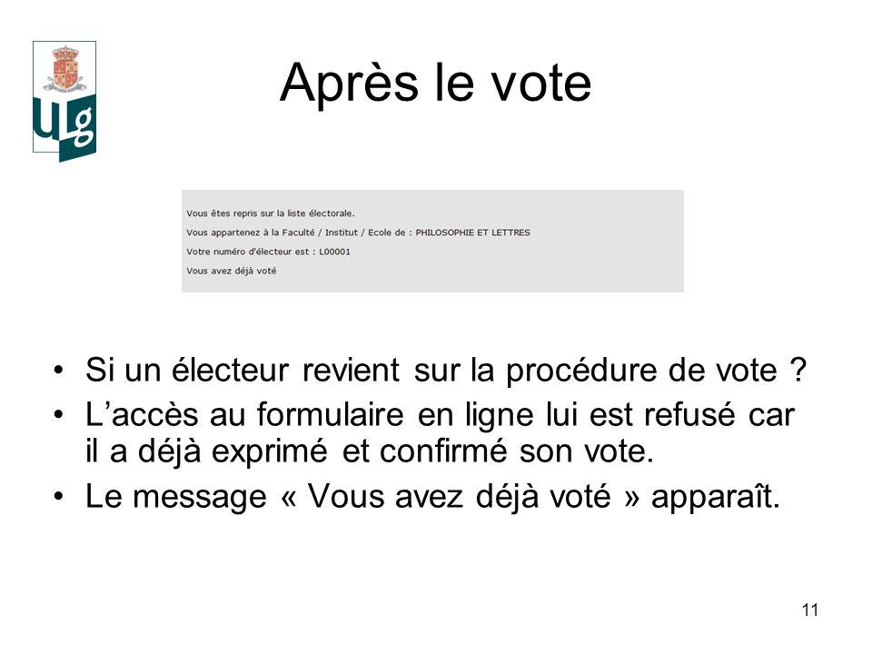 11 Après le vote Si un électeur revient sur la procédure de vote .