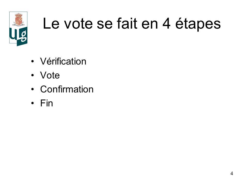 4 Le vote se fait en 4 étapes Vérification Vote Confirmation Fin