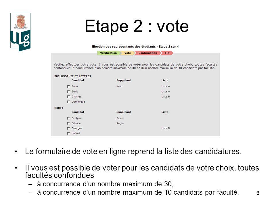 8 Etape 2 : vote Le formulaire de vote en ligne reprend la liste des candidatures.