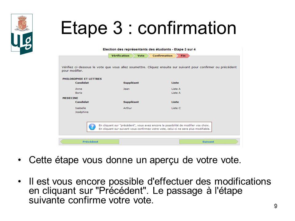 9 Etape 3 : confirmation Cette étape vous donne un aperçu de votre vote.