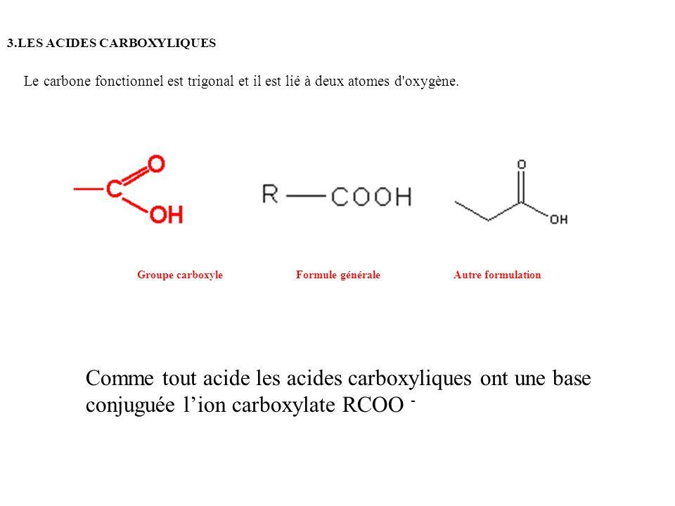 3.LES ACIDES CARBOXYLIQUES Comme tout acide les acides carboxyliques ont une base conjuguée lion carboxylate RCOO - Groupe carboxyleFormule généraleAu