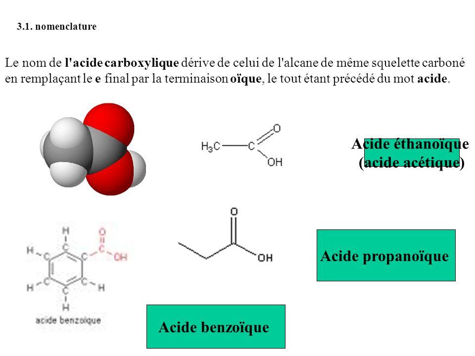 3.1. nomenclature Le nom de l'acide carboxylique dérive de celui de l'alcane de même squelette carboné en remplaçant le e final par la terminaison oïq