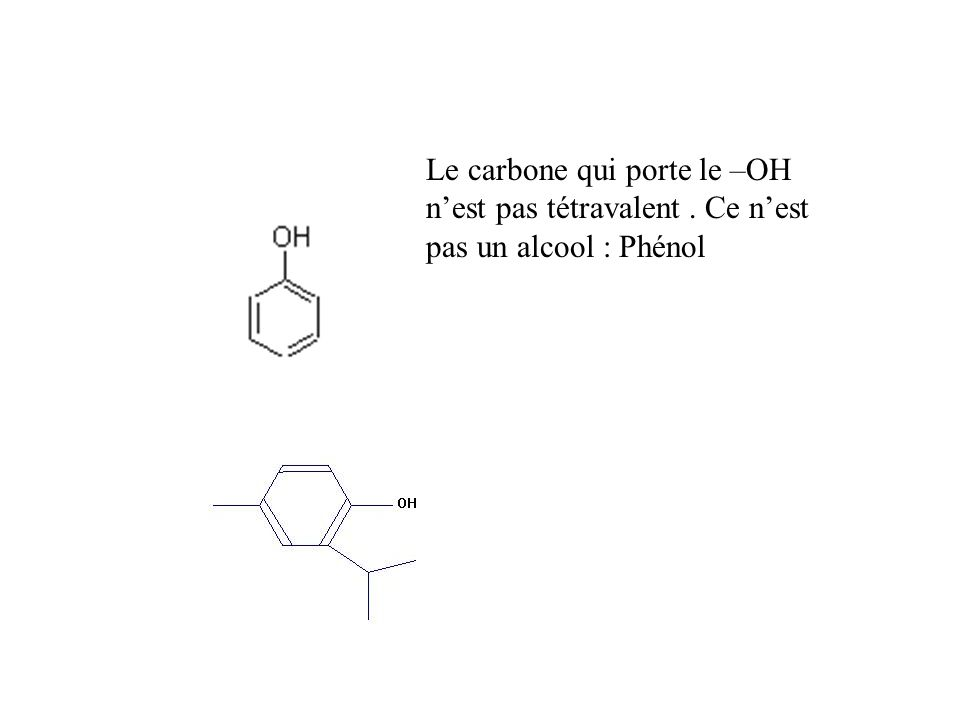 Le carbone qui porte le –OH nest pas tétravalent. Ce nest pas un alcool : Phénol